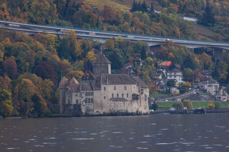 chillon: Chillon Castle and lake Geneva near resort of Montreux, Switzerland