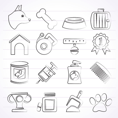cynology: Dog and Cynology object icons - vector icon set Illustration