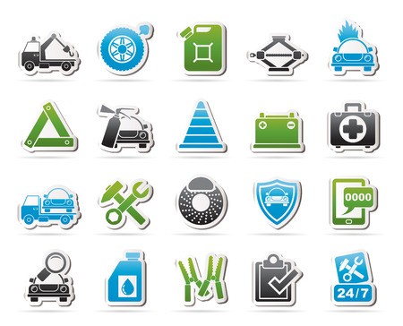 the roadside: Roadside Assistance and tow  icons - vector icon set Illustration