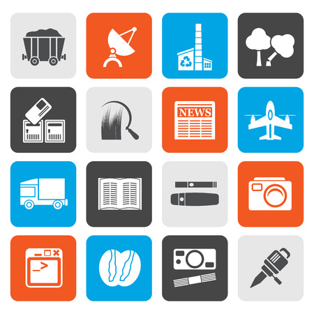 mine site: Flat  Business and industry icons - Vector Icon set