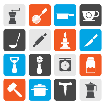 bailer: Flat Kitchen and household tools icons - vector icon set