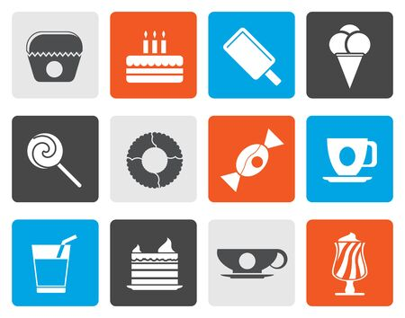 sweetmeats: Flat Sweet food and confectionery icons - vector icon set