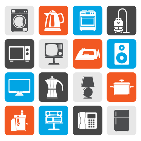 hoover: Flat home equipment icons - vector icon set Illustration