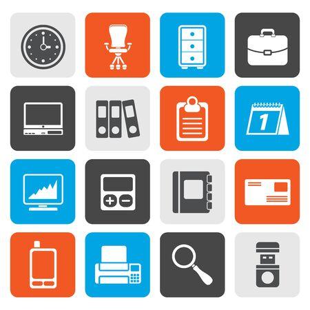 date book: Flat Business and office icons - vector icon set Illustration