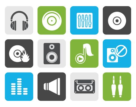 recorded: Flat Music and sound icons -  Vector Icon Set