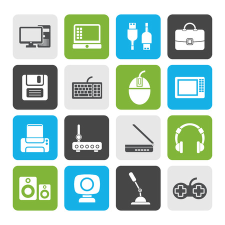 periphery: Flat Computer equipment and periphery icons - vector icon set Illustration