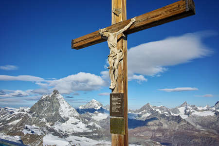 matterhorn: Crucifixion on matterhorn glacier paradise near Matterhorn Peak, Alps, Switzerland