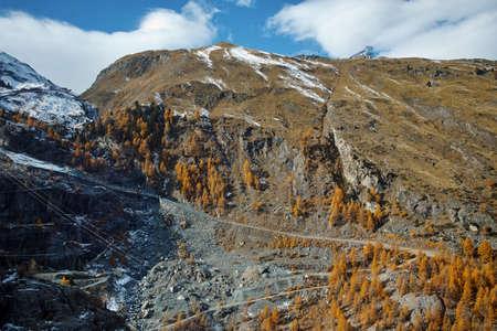 valais: Amazing autumn view of Swiss Alps, Canton of Valais,Switzerland