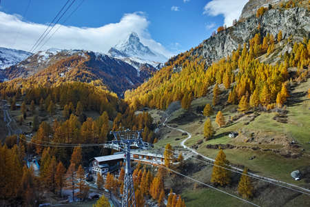 valais: autumn panorama of Mount Matterhorn, Canton of Valais,Switzerland