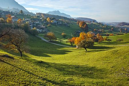 interlaken: Amazing Autumn Landscape of typical Switzerland village near town of Interlaken, canton of Bern