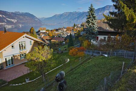 interlaken: Lake Thun and typical Switzerland village near town of Interlaken, canton of Bern