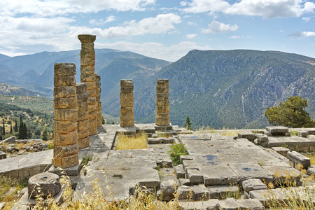 apollo: Panoramic view of The Temple of Apollo in Ancient Greek archaeological site of Delphi,Central Greece