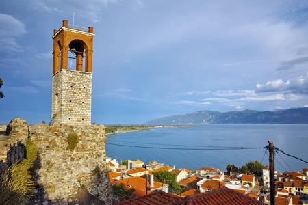 western town: Clock tower in Nafpaktos town, Western Greece