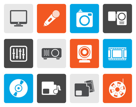 media equipment: Flat Media equipment icons - vector icon set