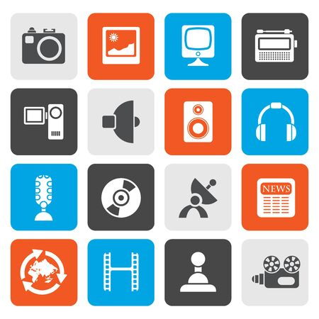 dish disk: Flat Media and household  equipment icons - vector icon set