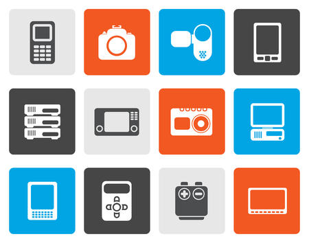 palmtop: Flat technical, media and electronics icons - vector icon set
