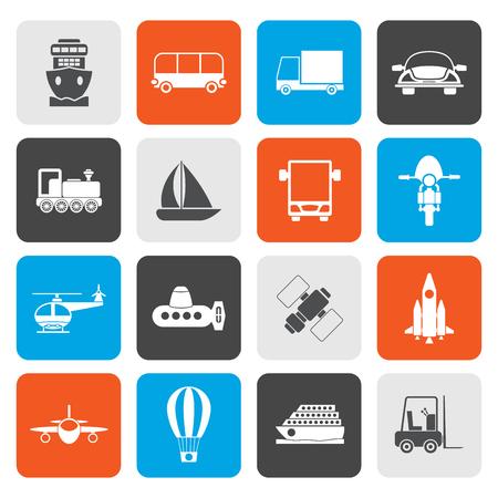 buss: Flat Transportation, travel and shipment icons - vector icon set Illustration