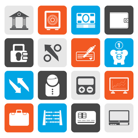 pocket book: Flat Bank, business and finance icons - vector icon set