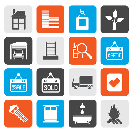 car for sale: Flat Real  Estate and building icons - Vector Icon Set Illustration