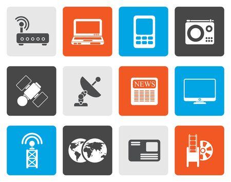communications technology: Flat Business, technology  communications icons - vector icon set