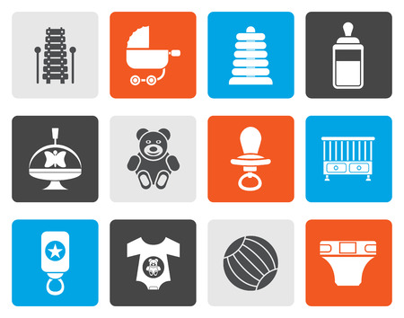 swaddling clothes: Flat Child, Baby and Baby Online Shop Icons - Vector Icon Set Illustration