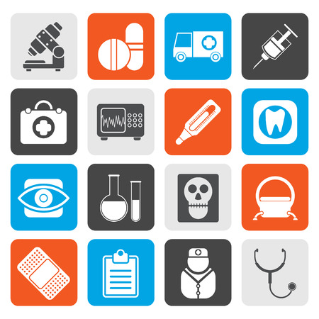 eye glasses: Flat medical, hospital and health care icons - vector icon set