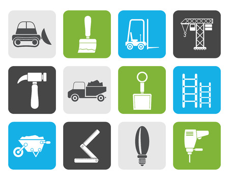 to pierce: Flat Building and Construction equipment icons - Vector Icon Set Illustration