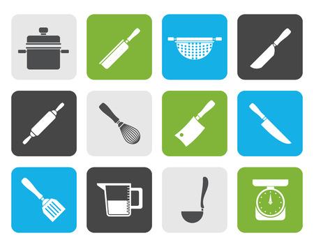 Flach Kochen Geräte und Werkzeuge Icons - Vector Icon Set