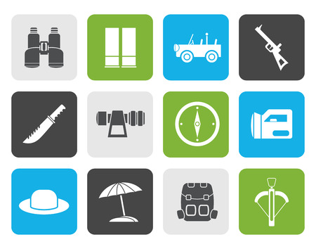 farsighted: Flat safari, hunting and holiday icons - vector icon set