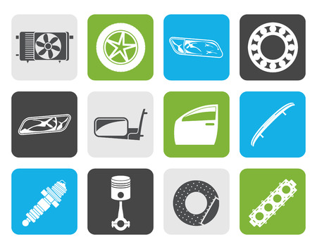 breaks: Flat Realistic Car Parts and Services icons - Vector Icon Set 1 Illustration