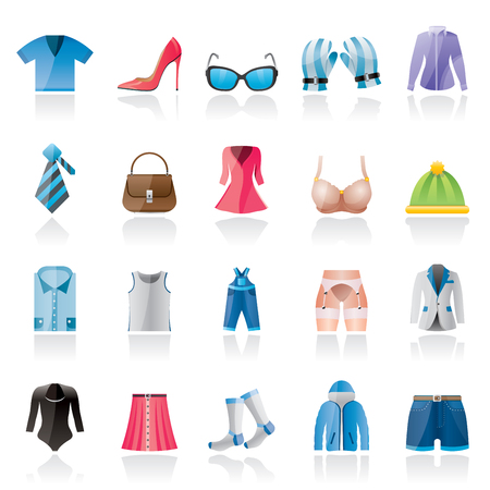 fashion set: Fashion and clothing and accessories icons - icon set