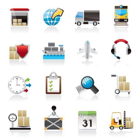 dock: Logistic, cargo and transportation icons - icon set Illustration