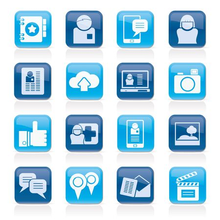 Sociale media, netwerk en internet iconen - icon set