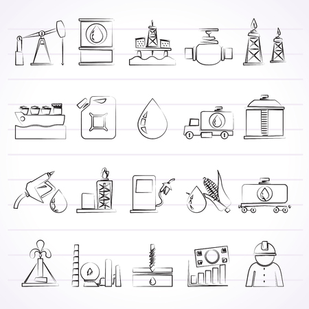 oil and gas industry: Oil industry, Gas production, transportation and storage icons - icon set