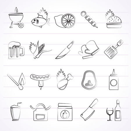 meat chopper: Grill and Barbecue Icons - icon set