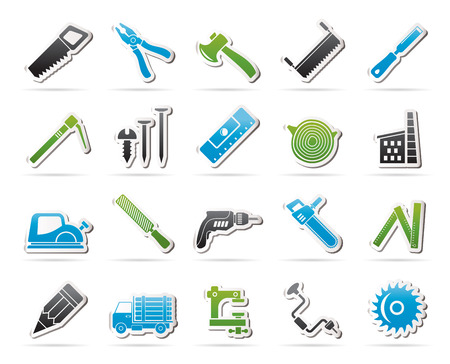 logging: Carpentry, logging and woodworking icons - icon set Illustration