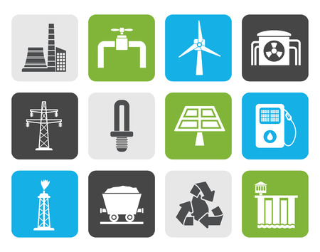 power industry: Flat Power and electricity industry icons - icon set