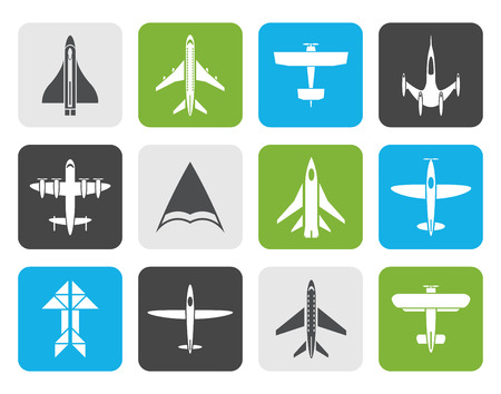 deltaplane: Flat different types of plane icons - icon set