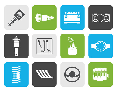 Flat Realistic Car Parts and Services icons - Icon Set Vector Illustration