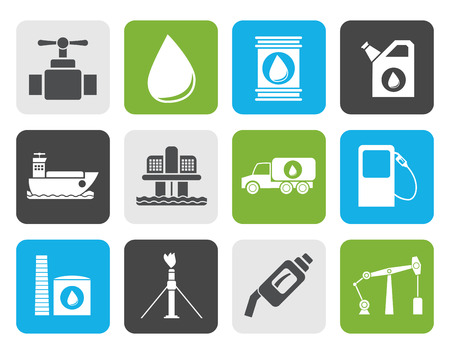 drilling rig: Flat oil and petrol industry objects icons - icon set