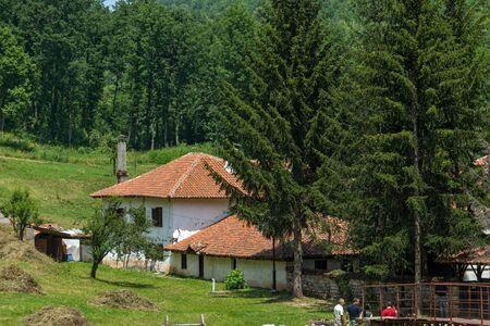 theologian: Balkan Mountain and Poganovo Monastery of St. John the Theologian, Serbia Stock Photo