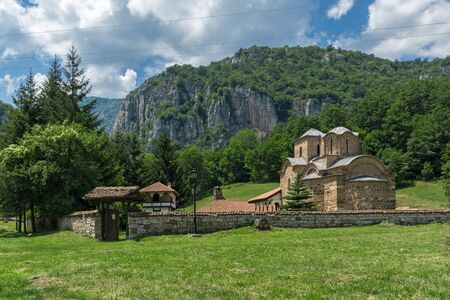balkan peninsula: Erma River Gorge and Poganovo Monastery of St. John the Theologian, Serbia Stock Photo
