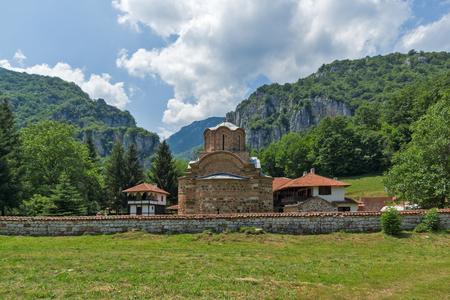 theologian: Panoramic view of Poganovo Monastery of St. John the Theologian and Erma River Gorge, Serbia