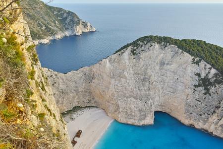 zakynthos: Amazing Panorama of Navagio Shipwreck beach, Zakynthos, Greece Stock Photo