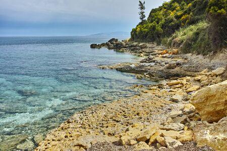 cefallonia: Rocks Blue waters of Pesada beach, Kefalonia, Ionian islands, Greece