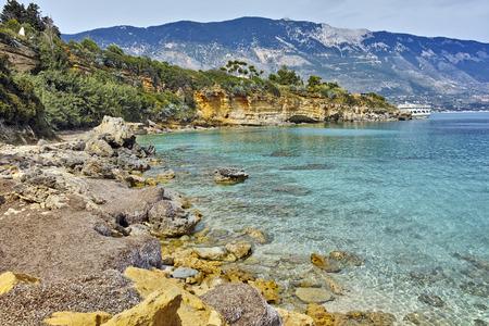 cefalonia: Amazing panorama of Pesada beach, Kefalonia, Ionian islands, Greece Stock Photo