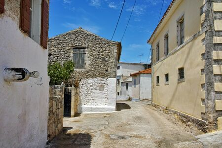 ag: Street and old houses in Ag. Leon village, Zakynthos, Ionian islands, Greece