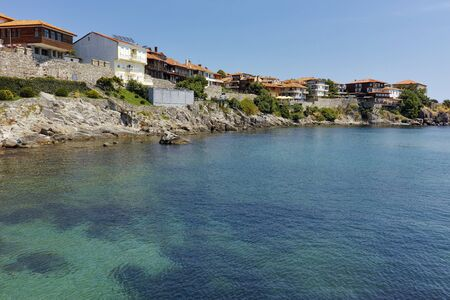 archeologist: Panoramic view to old town and Black sea in Sozopol, Burgas Region, Bulgaria