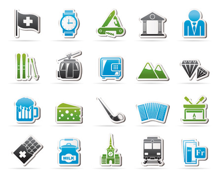 frank: Switzerland industry and culture icons  - vector icon set