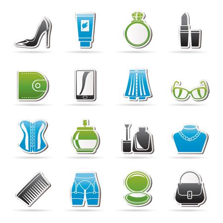 Weibliches Zubehör und Kleidung-Symbole-Vektor-Icon-Set Vektorgrafik